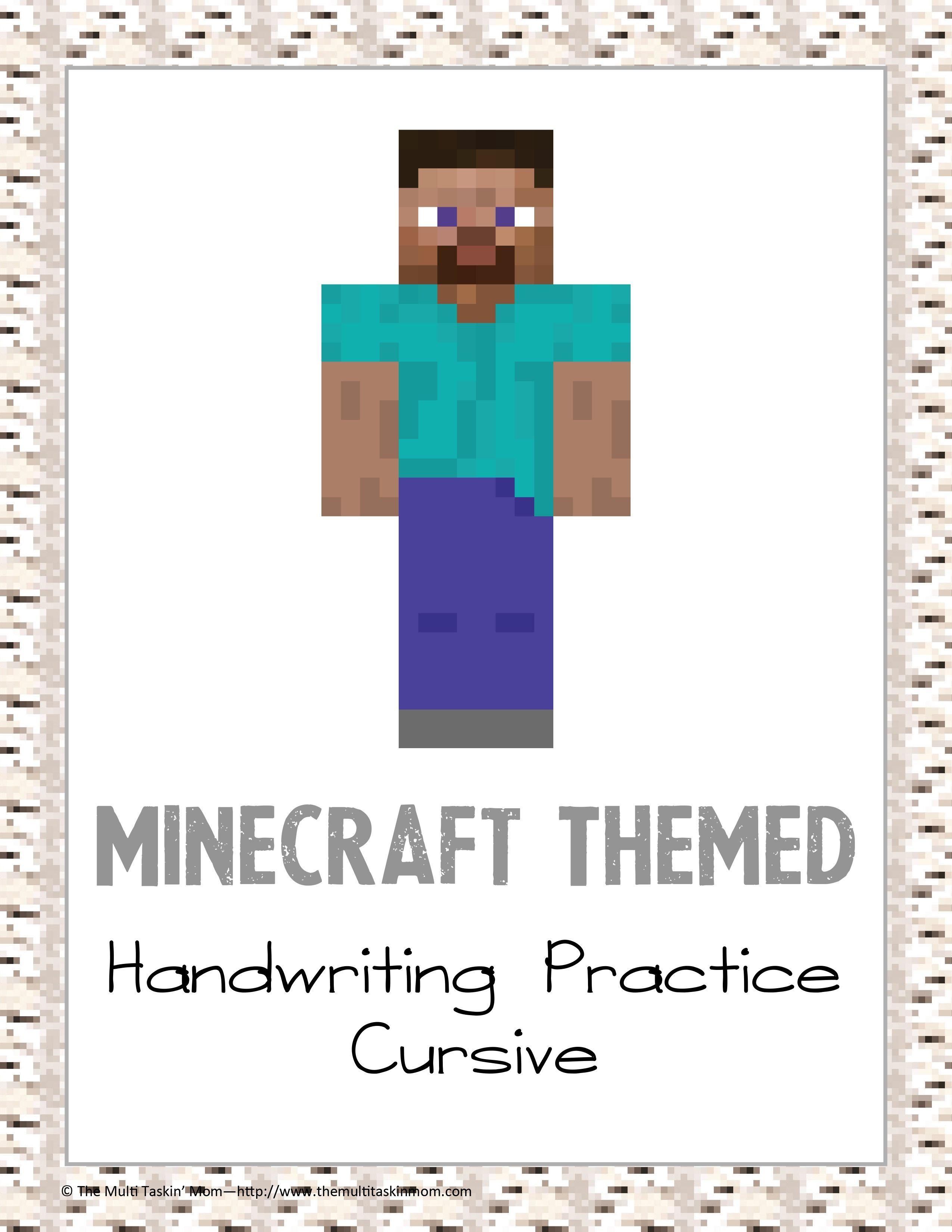 Minecraft Cursive Handwriting Practice Cursive Handwriting Cursive Handwriting Practice Handwriting Practice [ 3300 x 2550 Pixel ]