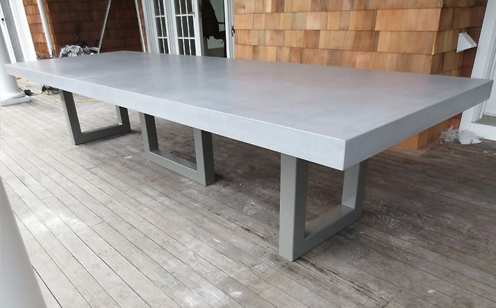 Custom Concrete Kitchen Dining Tables 42x96 Top With Triple Pedestal Metal Base Package 1800 Powder Coat And Pigment Gloss