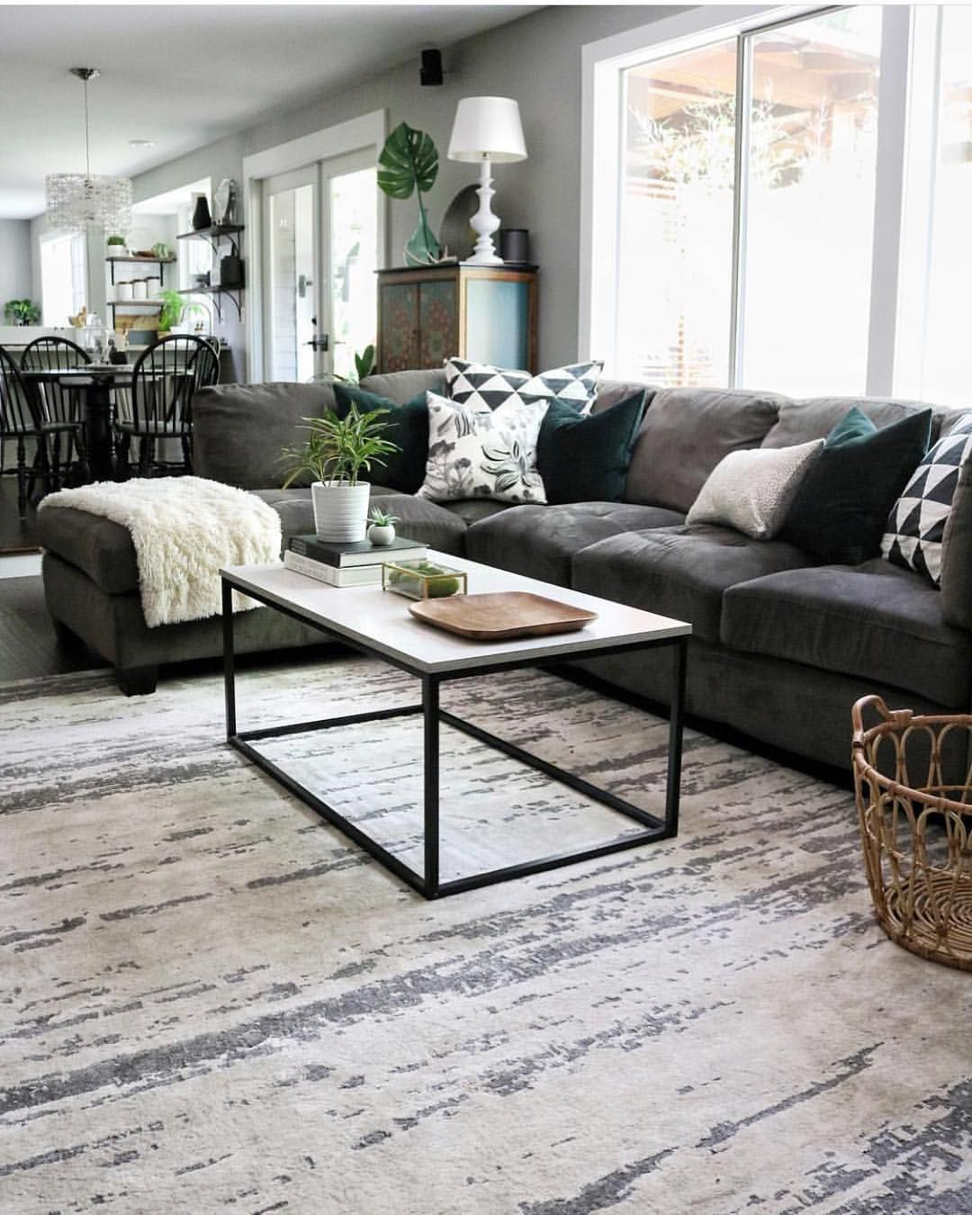Family Room with cozy gray sectional.   Sectional living ...