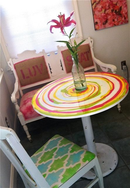 Revamped Table And Bench Painted Topspainted Round Tableshand