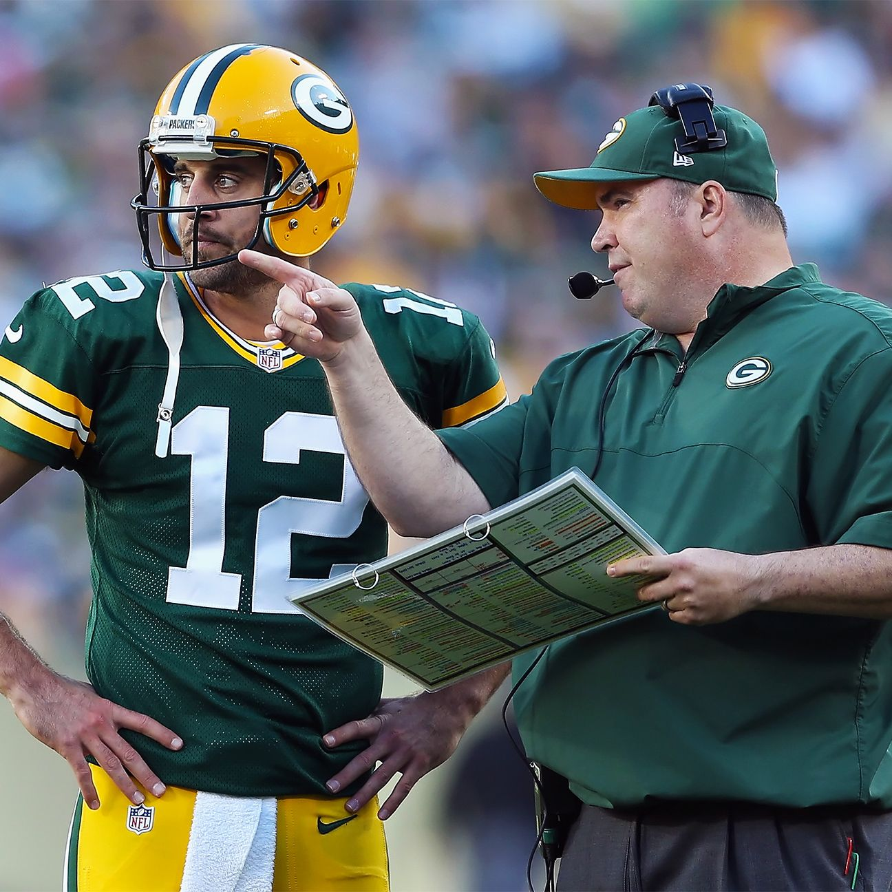 Mccarthy No Restrictions On Rodgers Workload Mike Mccarthy Aaron Rodgers Sports Pictures