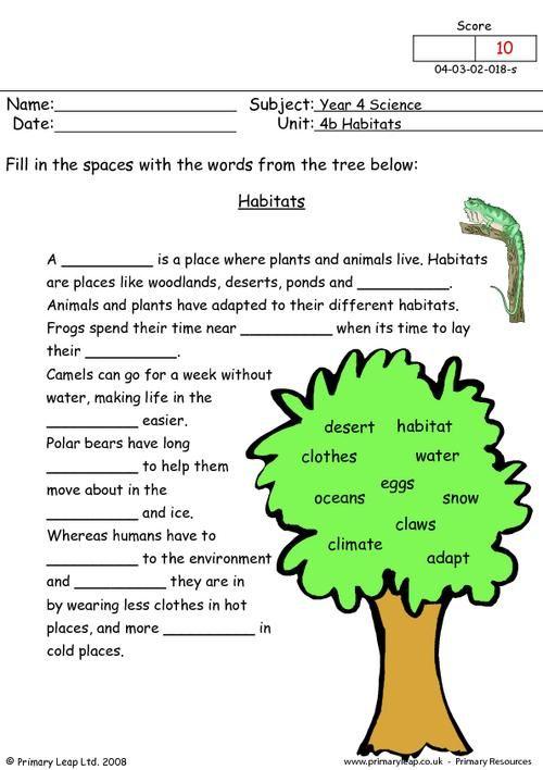 Primaryleap Co Uk Habitats Worksheet Free Worksheets For Kids