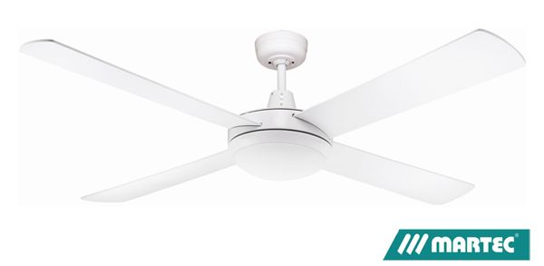 Martec lifestyle ceiling fan 1300mm 52 4 blade white finish with martec lifestyle ceiling fan 1300mm 52 4 blade white finish with 24w 3000k aloadofball Choice Image