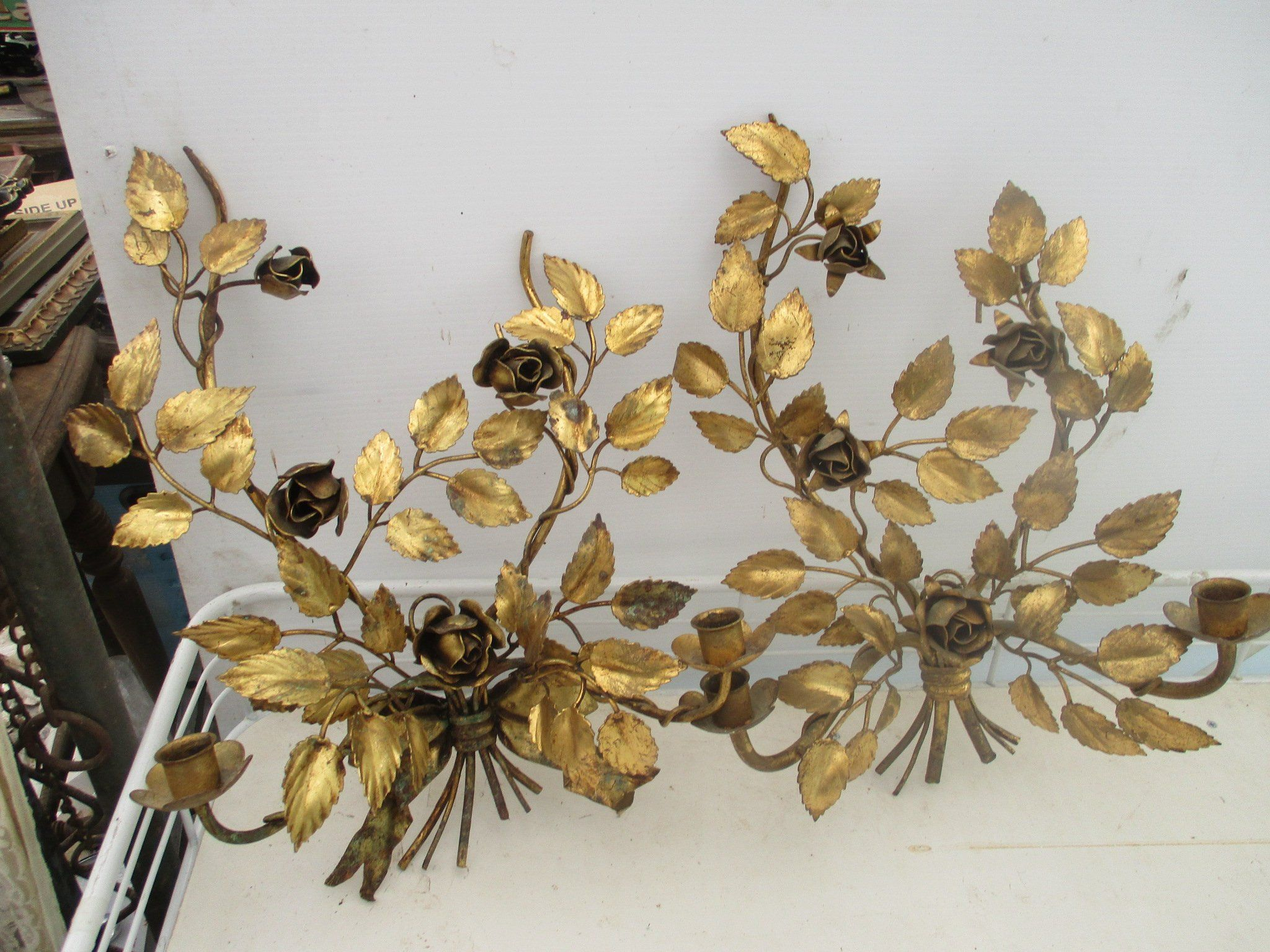 c593199eb30 REDUCED Vtg Pair Shabby Gold Metal Roses Leaf Vine Designs Italian Tole  Style 2 Arm Candle Holder Wall Sconces, Italy? by treasuretrovemarket on  Etsy