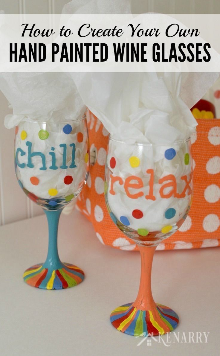 Hand painted wine glasses how to make your own enamel for Wine glass painting tutorial