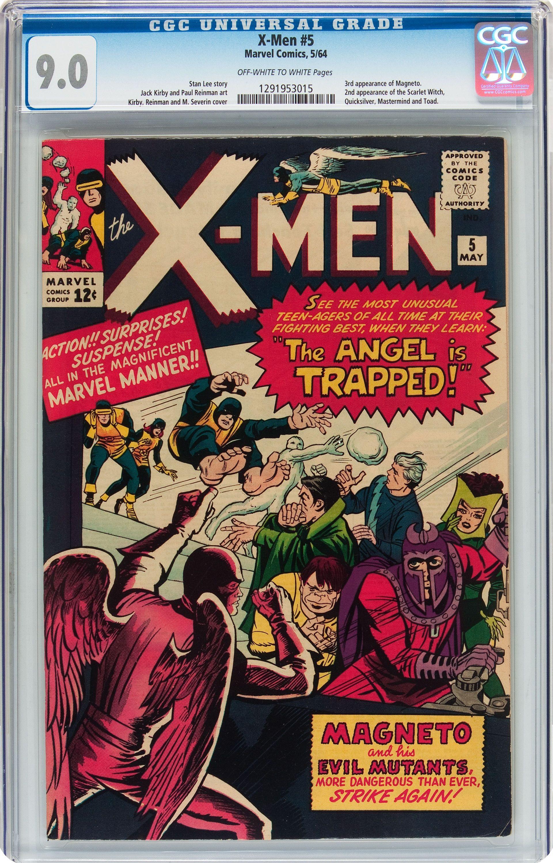 X Men 5 Marvel 1964 Cgc Vfnm 90 Off White To White Pages