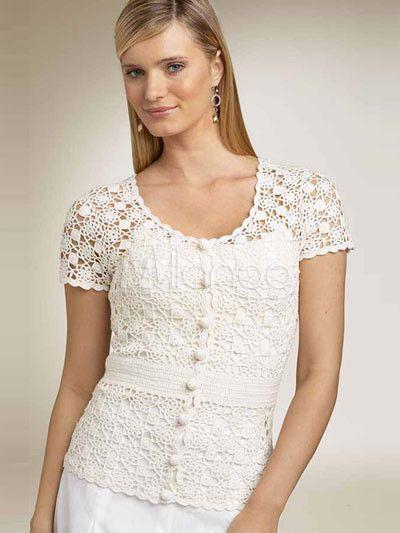 e1f1e75195 Blanco 100% algodón manga corta blusa de ganchillo para mujer - Milanoo.com