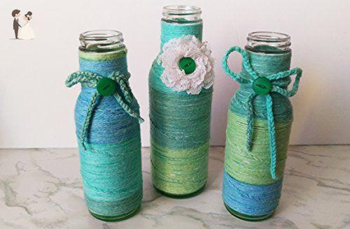 Yarn Wrapped Bottle Set Of Three Sea Glass Style Vase Beach