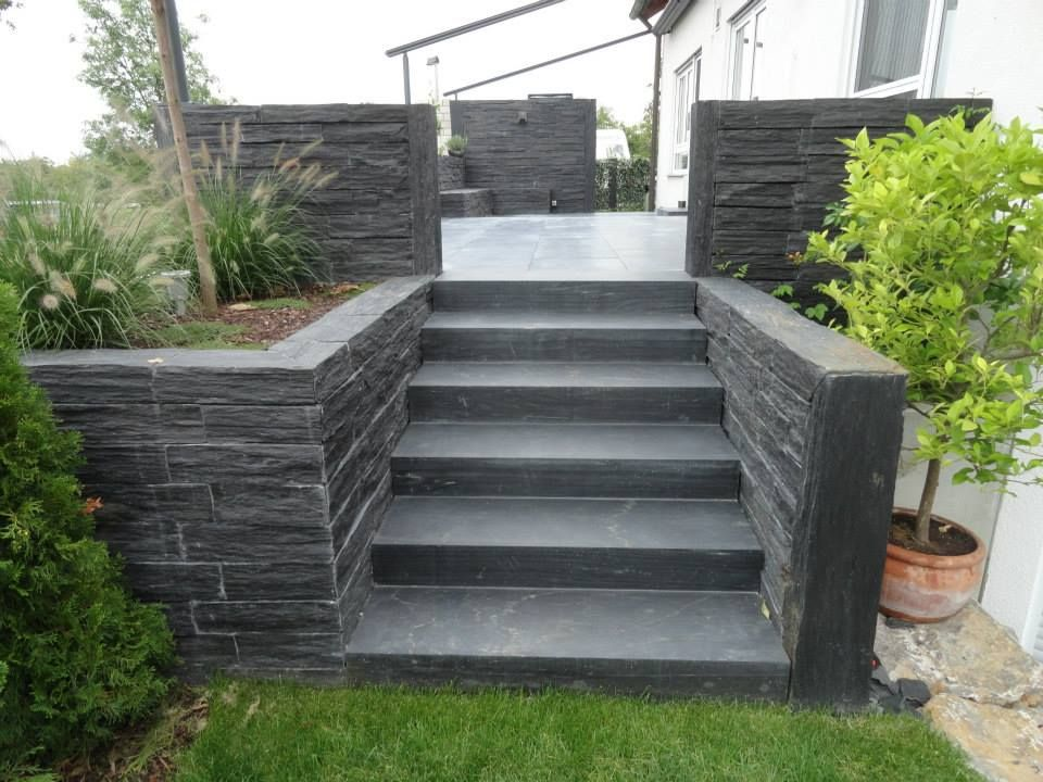 Escaliers Exterieurs En Ardoise Les Idees De Cote Deco Escalier Exterieur Escalier Idee Deco Exterieur