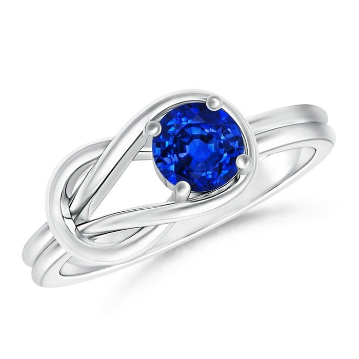 Angara Infinity Love Knot Solitaire Sapphire Ring with Diamond in White Gold
