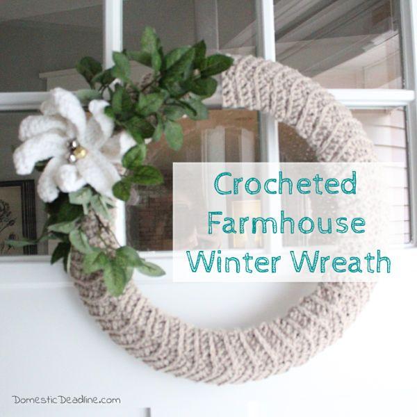 Photo of Crocheted Farmhouse Winter Wreath | Domestic Deadline