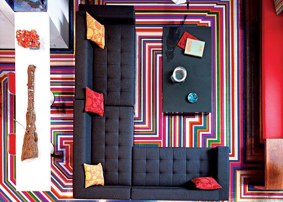 Great Room Vinyl Tape Turns Gallerist Tim Nye S Floor Into A Pop Masterpiece New York Magazine Nymag Floor Design Modern Interior Decor Duct Tape