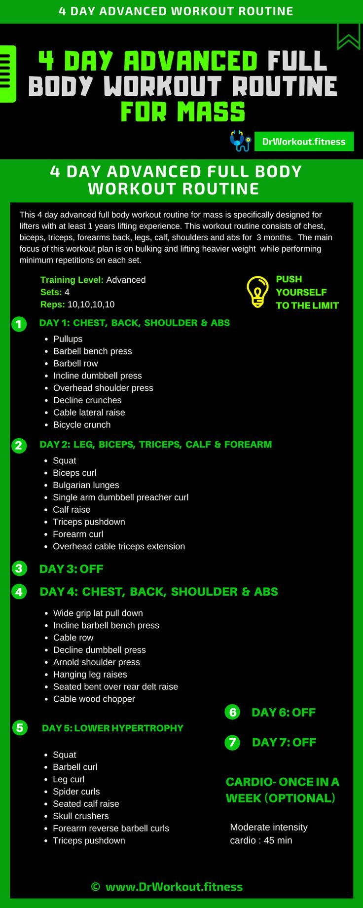 4 Day Advanced Full Body Workout Routine For Mass Full Body Workout Routine Body Workout Plan Fitness Body