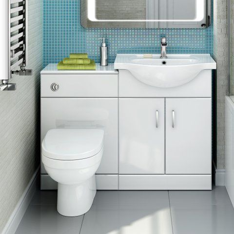 1138mm Sabrosa Ii Pan Quartz Gloss White Combined Suite With Toilet Basin Soak