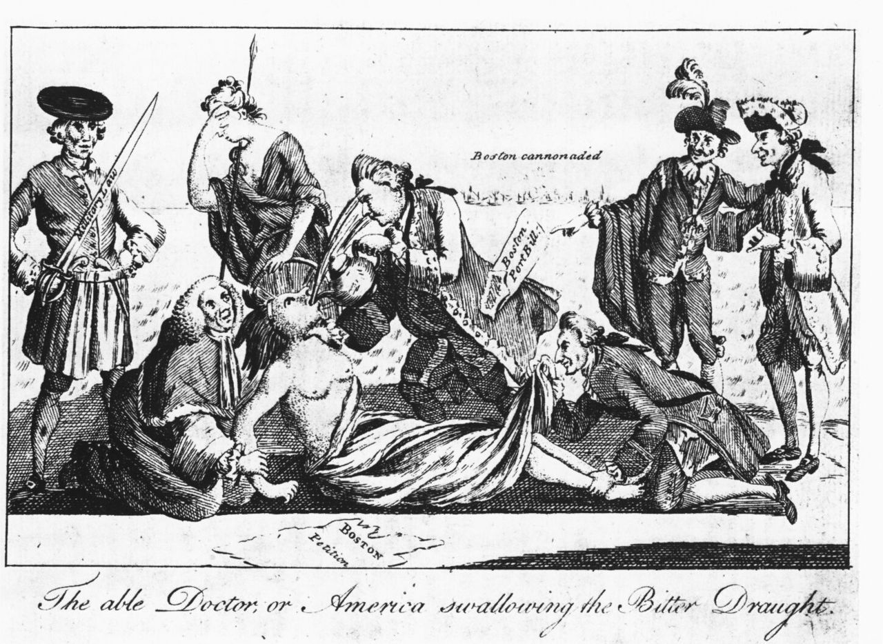 A Patriot Cartoon Depicting The Coercive Acts As The Forcing Of Tea On A Native American Wo American Revolution Boston Tea Parties American War Of Independence