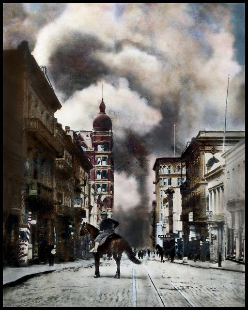 Sacramento Street viewing East from Kearny.  Fire approaching from downtown San Francisco 1906; Hand-tinted by #bennetthall #sanfranciscoimages
