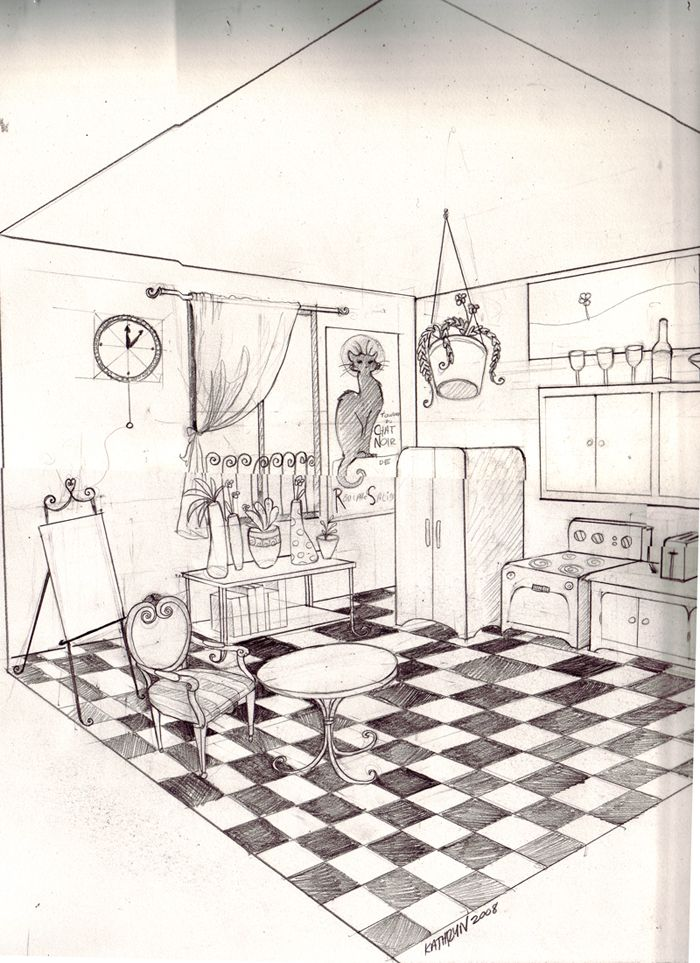 Pics For > 2 Point Perspective Bedroom Sketch | Perspective ...