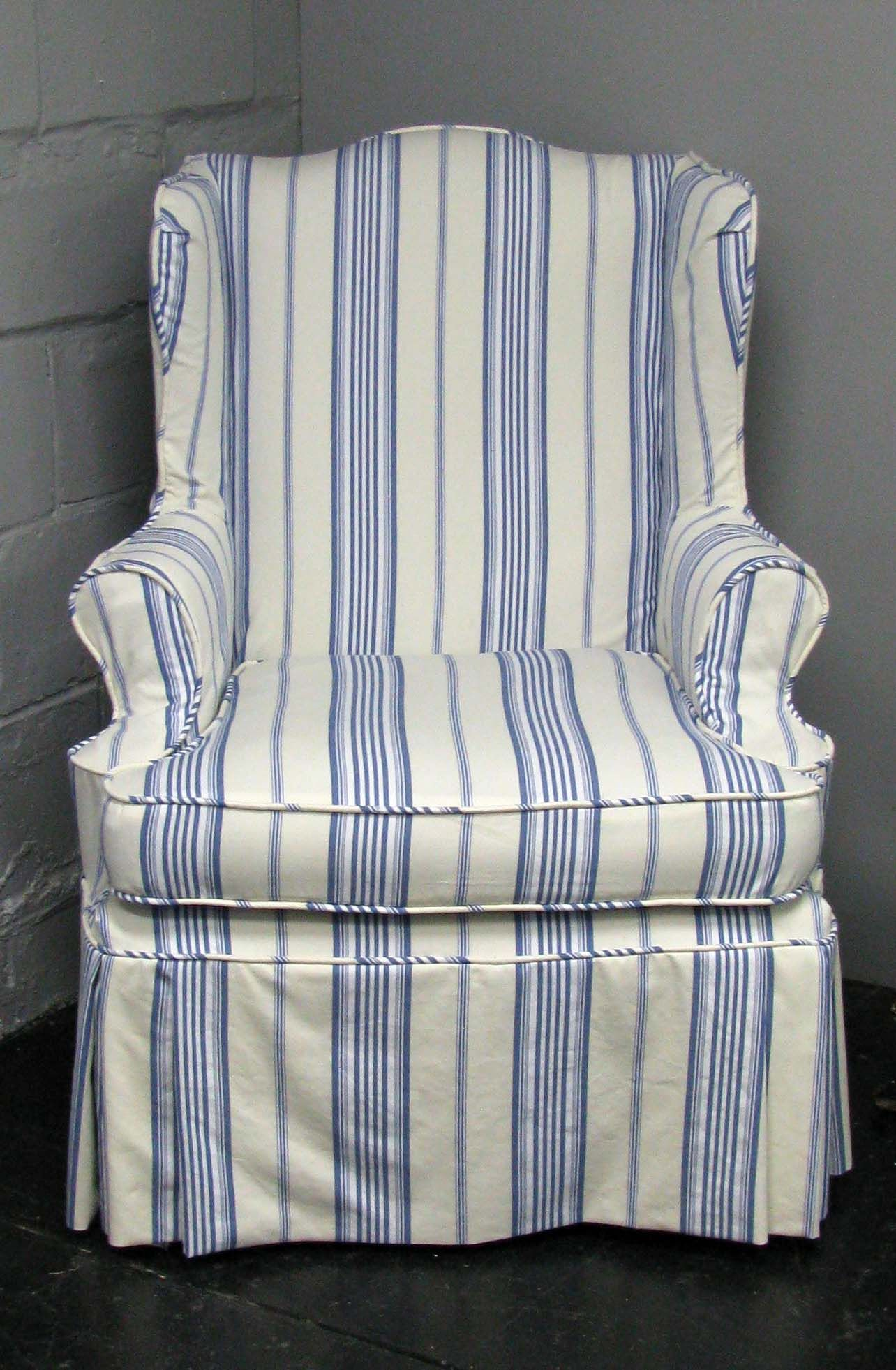 Charming Wing Chair Slipcover With White Wall Color And Lighting Lamp For Modern  Living Room Decor