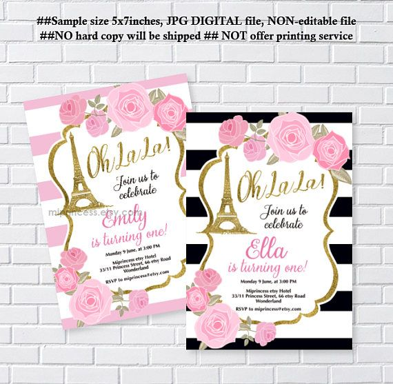 Paris eiffel tower birthday invitation ooh la la girl party girl paris eiffel tower birthday invitation for any age floral invite girl 1st birthday stopboris Images