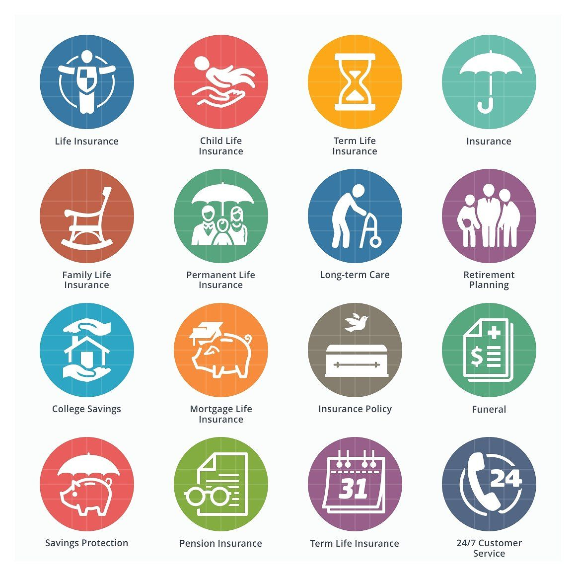 Life Insurance Icons Colored materialsprintedwebsites