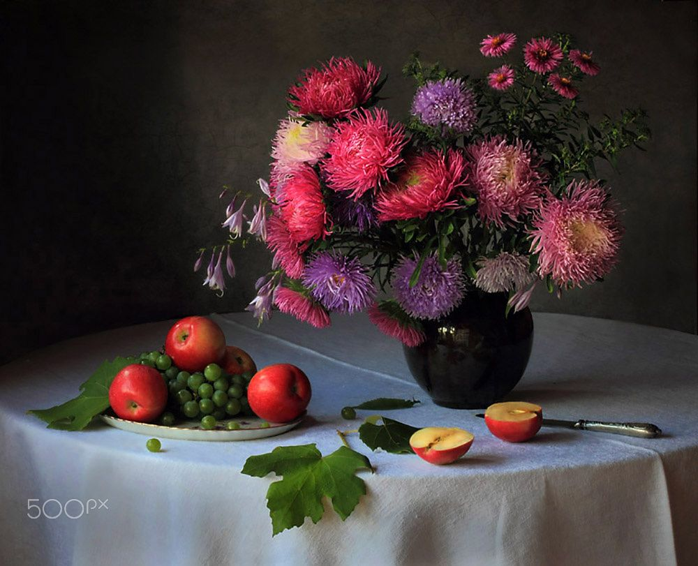 Still Life With A Bouquet Of Asters And Fruits