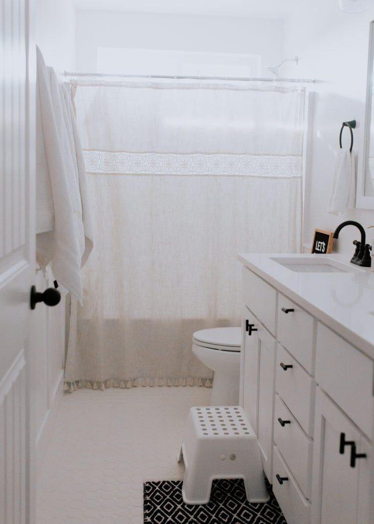 Simple White and Blush Kid's Bathroom | Simple bathroom ...