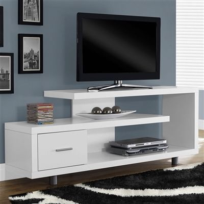 This Tv Stand White Modern Fits Up To 60 Inch Flat Screen Tv Is