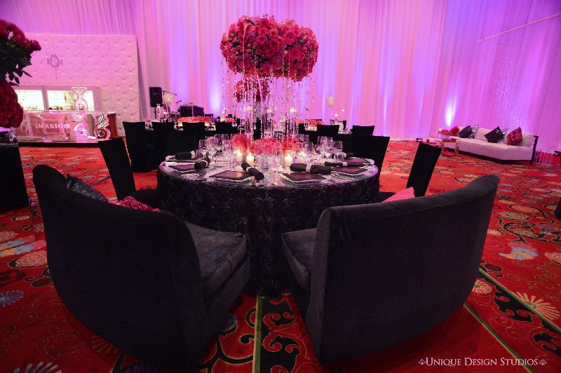 Black and hot pink decor at keela and marions las vegas wedding reception destination wedding