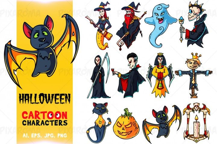 Halloween Cartoon Characters Set By Pixaroma