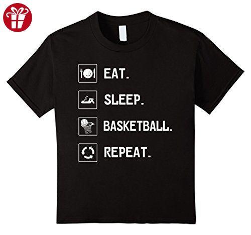 Kids Eat Sleep Basketball Repeat | Basketball Fans TShirt 4 Black (*Amazon Partner-Link)