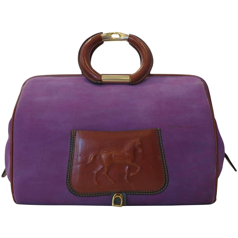dd69ee4b573 Fabulous Vintage Rare Paolo Gucci purple suede  amp  saddle tan leather  handbag 1980s