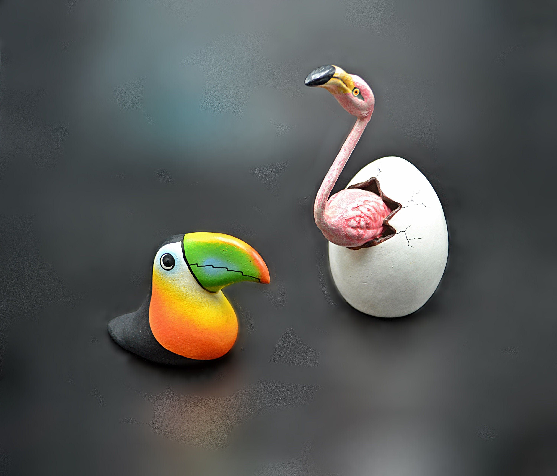 Bird Figurines, Hatching Flamingo, Toucan, South American