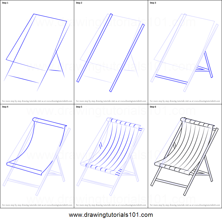 How To Draw Beach Chair Printable Drawing Sheet By Drawingtutorials101 Com Chair Drawing Step By Step Drawing Drawing Sheet