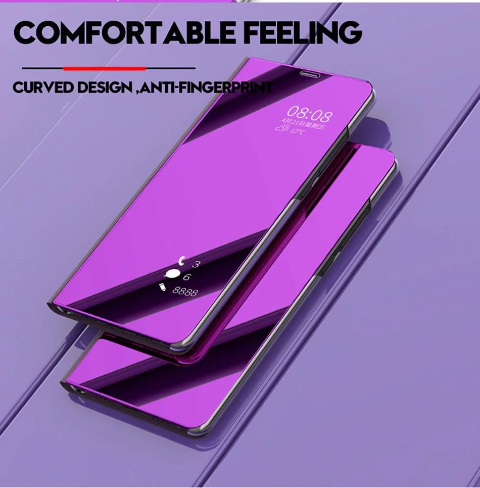 Glossy Mirrored Finish Smart Case Flip Phone Case For Samsung Galaxy S9 S8 S7 S6 Edge Plus Clear View Smart Mirror Cover For Sams Flip Phone Case Galaxy Note 9 Phone Cases