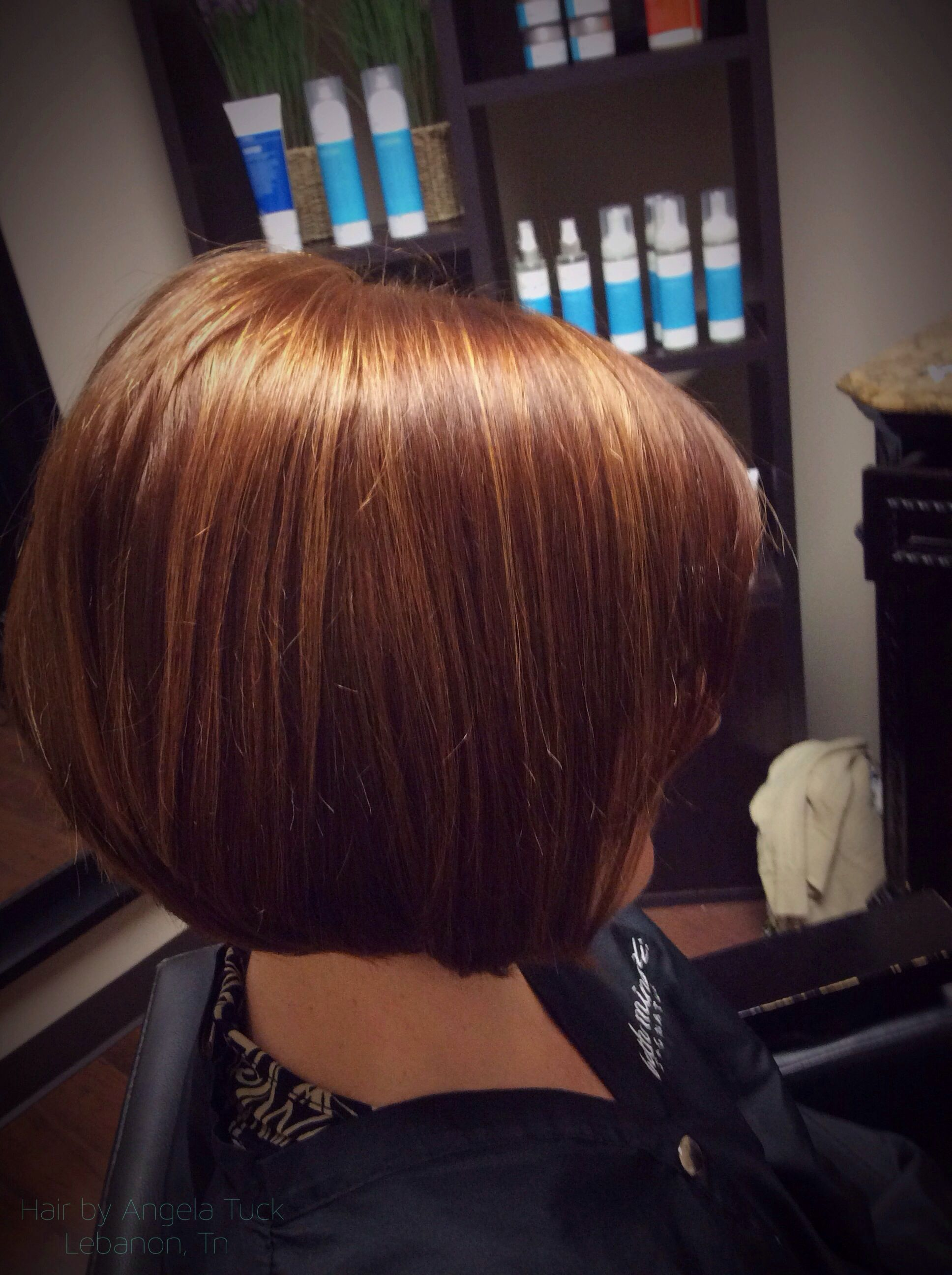 Dimensional Red and toffee highlights Hair by Angela Tuck, lebanon