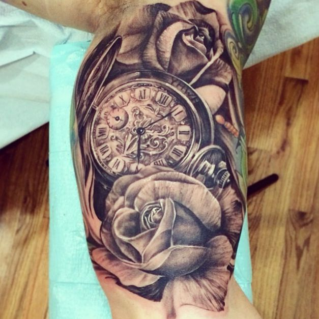 7628bdf88f409 Stopwatch and roses. Stopwatch and roses Tatoo, Arm Tattoo, Sleeve Tattoos  ...