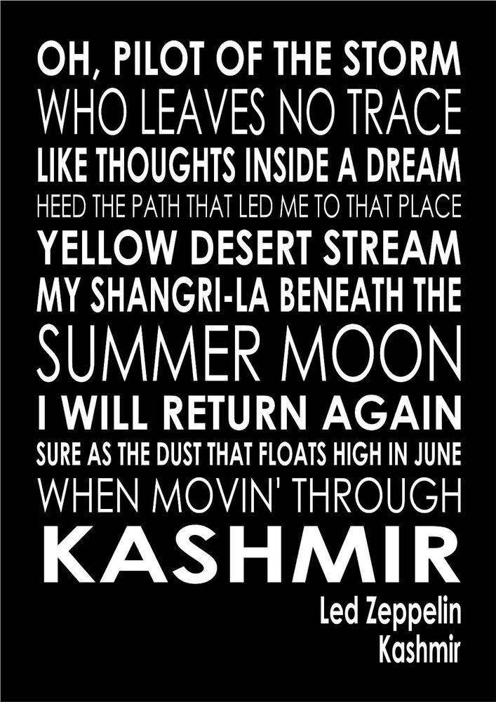 Kashmir Led Zeppelin Word Typography Words Song Lyric Lyrics