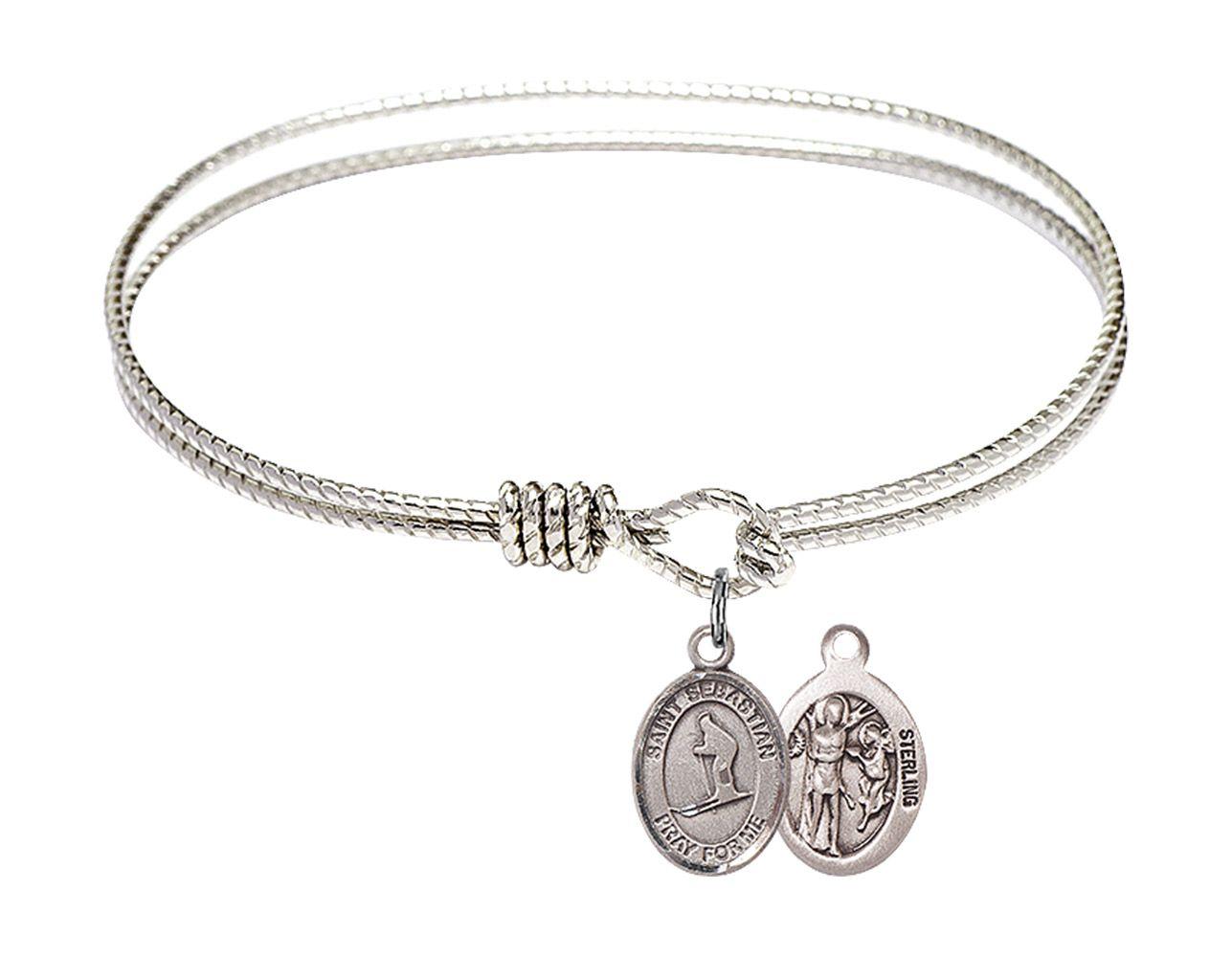 DiamondJewelryNY Double Loop Bangle Bracelet with a St Christopher//Skiing Charm.