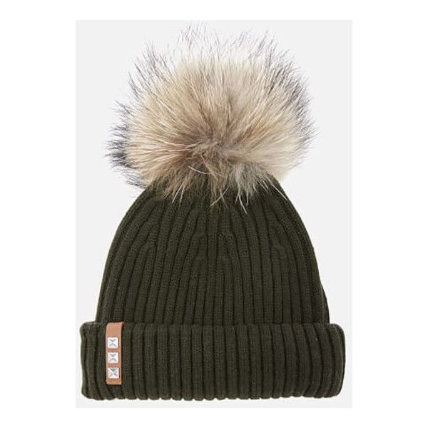 9758dec138b74f BKLYN Women's Merino Wool Hat with Natural Pom Pom - Army Green (81 AUD) ❤  liked on Polyvore featuring accessories, hats, merino wool hat, pompom hat,  ...