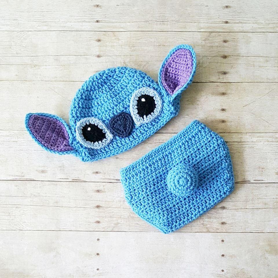 Crochet Stitch Hat Beanie Diaper Cover Lilo and Stitch Disney ...
