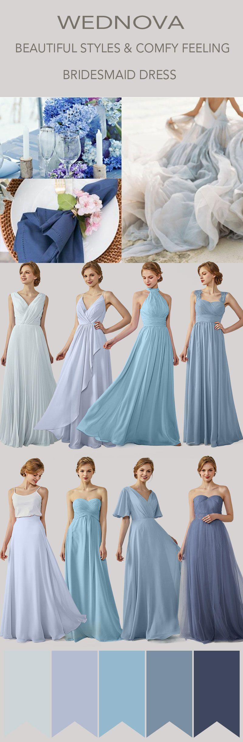 Straps bridesmaid dress ombre blue boho dress chiffon high quality