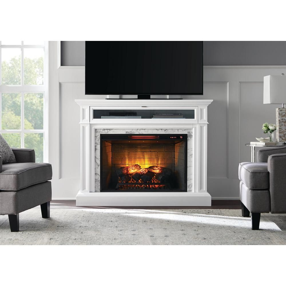 Home Decorators Collection Alana 52 In W Infrared Media Electric Fireplace In White 1457fm 33 201 The Home Depot Best Electric Fireplace White Electric Fireplace Electric Fireplace