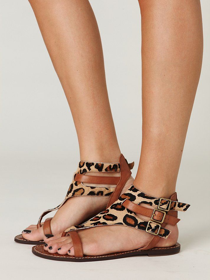 d1cd00a71523 Leopard print   tan leather sandals - Free People.