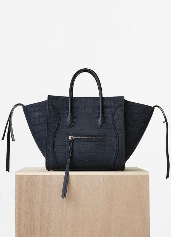 c030c267f63 Medium Luggage Phantom Handbag in Navy Blue Nubuck Stamped Crocodile -  Céline