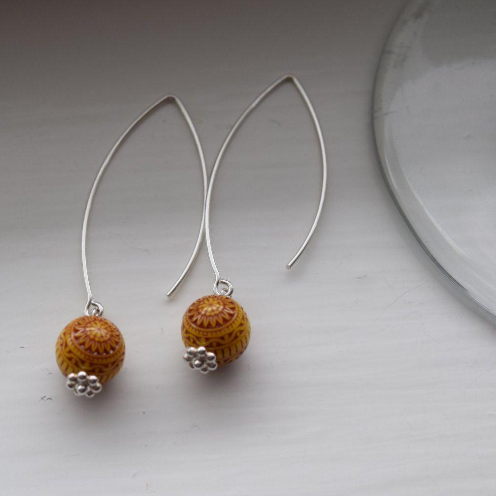 Lovely yellow beaded silver earrings by WineandJewels on Etsy
