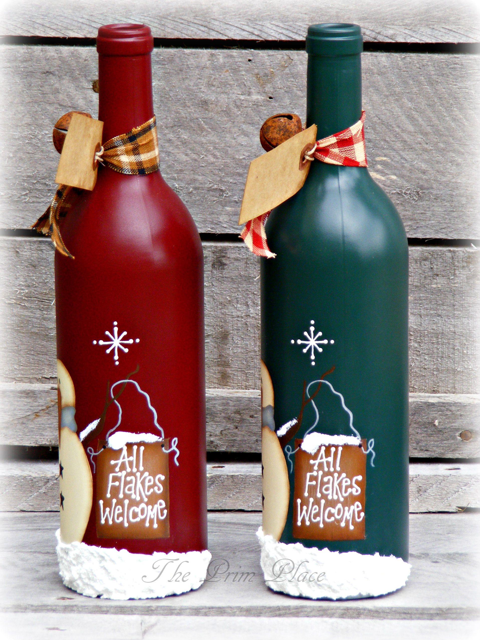 Primitive Snowman Wine Bottle ~ Snowman Decor ~ Christmas
