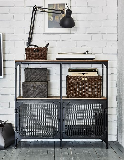 industrial style shelving. IKEA Has Living Room Ideas To Help With Your Tech. An Industrial Style Shelving Unit