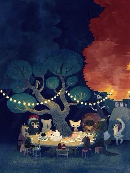 Animals birthday party night in the forest illustration