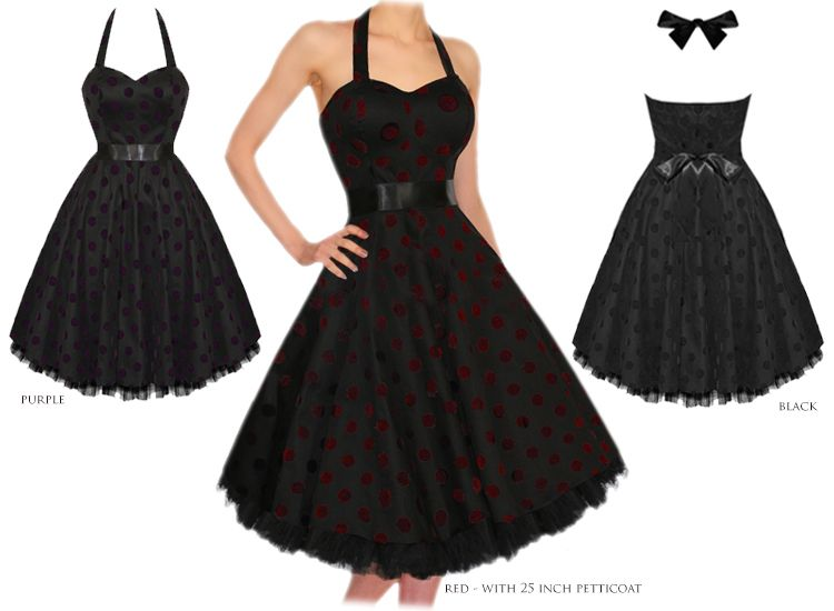 cd42e87ebeda6 Hearts and Roses London Flock Polka Dot 50s Rockabilly Pinup Party Prom  Dress Preview
