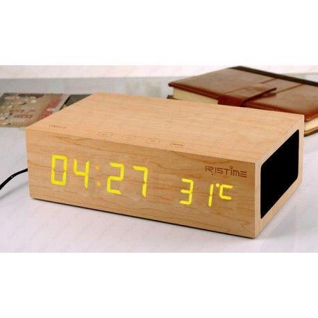 haut parleur chargeur r veil radio fm bois bluetooth. Black Bedroom Furniture Sets. Home Design Ideas